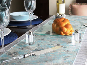 French Blue & Silver Luxury Metallic Runner - The Jewish Kitchen