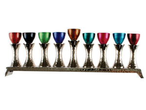 Colorful Contemporary Aluminum Menorah - The Jewish Kitchen