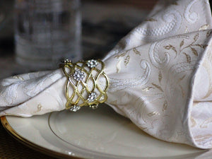 Kensington Cream and Gold Jacquard Napkins, Set of 4 - The Jewish Kitchen