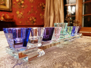 Contemporary Crystal Multi-Colored Footed Menorah