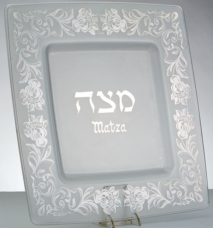 Frosted Glass Matzoh Plate with Silver Etched Flowers