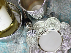 Filigree Lace Kiddush Cup & Tray - The Jewish Kitchen