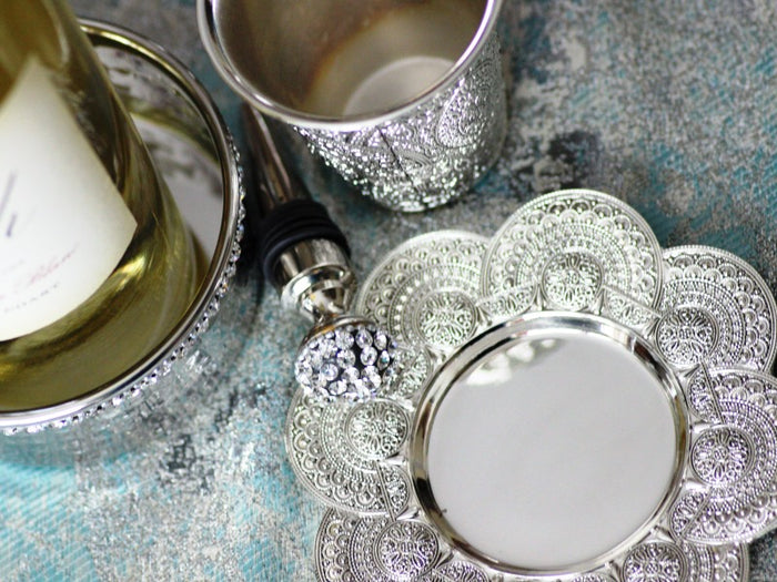 Filigree Lace Kiddush Cup & Tray