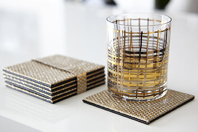 Set of 6 Beverage and Cocktail Coasters - Gold