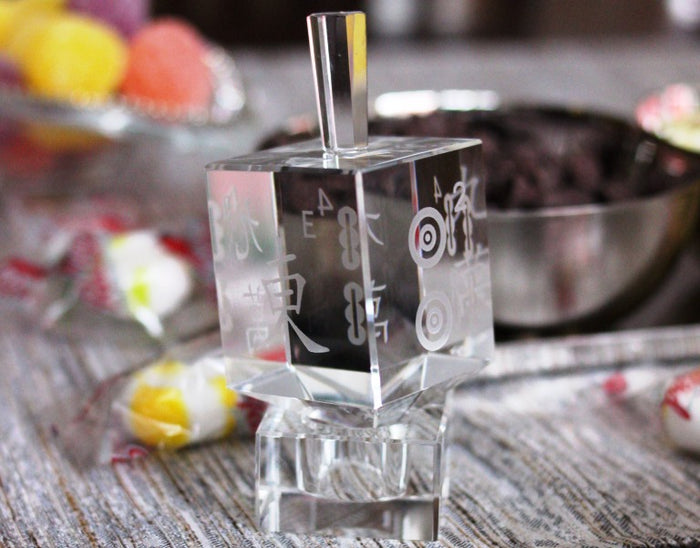 Mah Jongg Crystal Dreidel and Crystal Stand