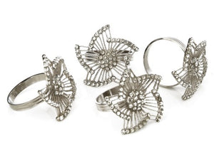 Silver/Jeweled Pinwheel Napkin Rings, Set of 4 - The Jewish Kitchen