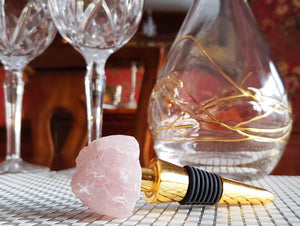 Bottle Stopper with Pink Agate Stone