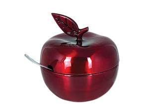 Rosh Hashanah Lacquered Red Apple Honey Pot with Spoon