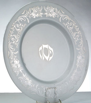 Frosted Glass Seder Plate with Silver Etched Flowers