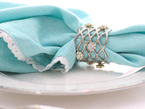 Jeweled Silver Open Weave Napkin Rings, Set of 4 - The Jewish Kitchen