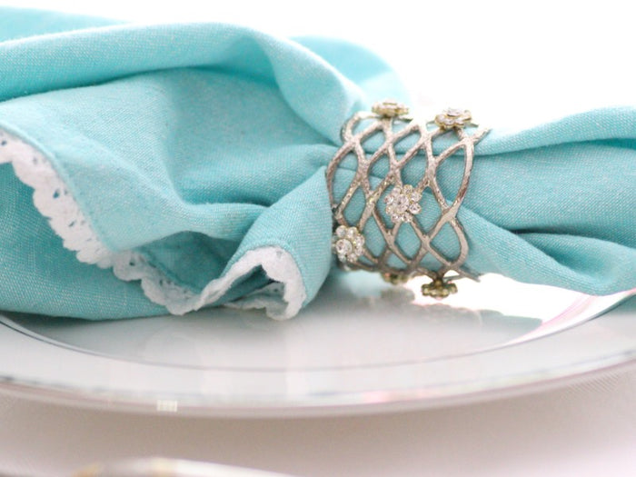 Jeweled Silver Open Weave Napkin Rings, Set of 4