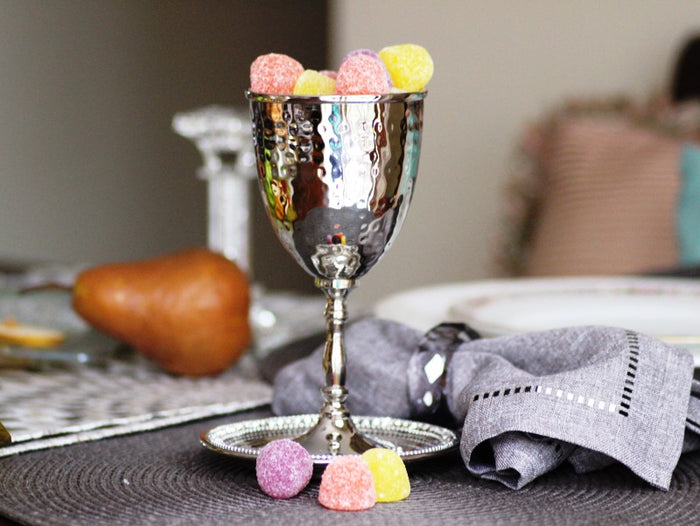 Jeweled Stainless Steel Kiddush Cup & Tray