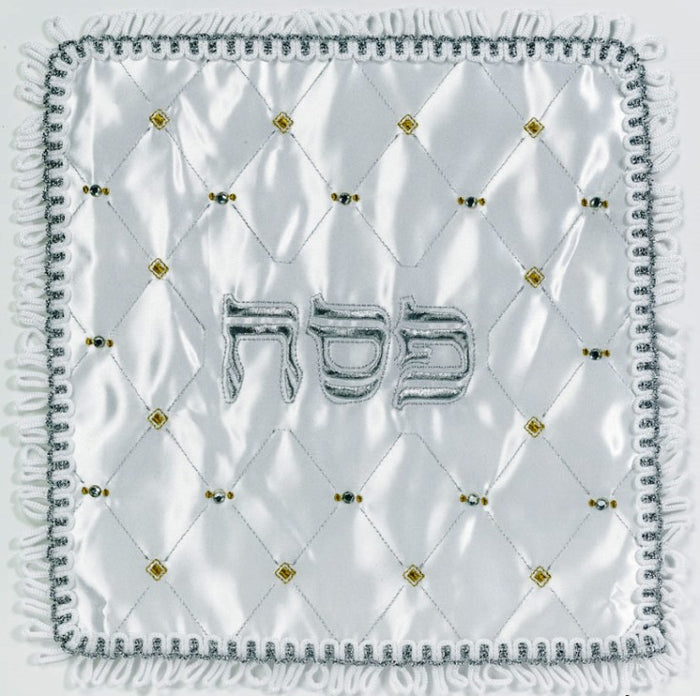 Square Jeweled Matzoh Cover with Silver/Gold Embroidery