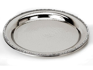 Stainless Steel Round Tray with Jewel Accents - The Jewish Kitchen