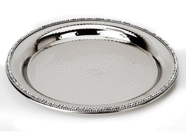 Stainless Steel Round Tray with Jewel Accents
