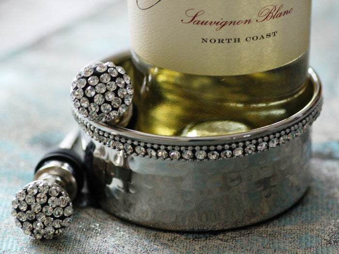 Stainless Steel Wine Bottle Coaster with Crystals