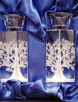 Pair of Crystal Tree of Life Candle Holders - The Jewish Kitchen