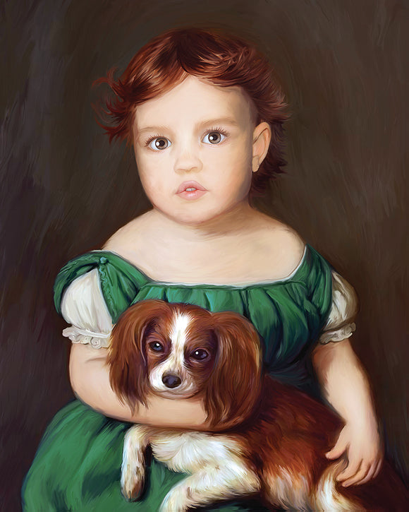 Kids Custom Painting, Children custom portrait from your photo