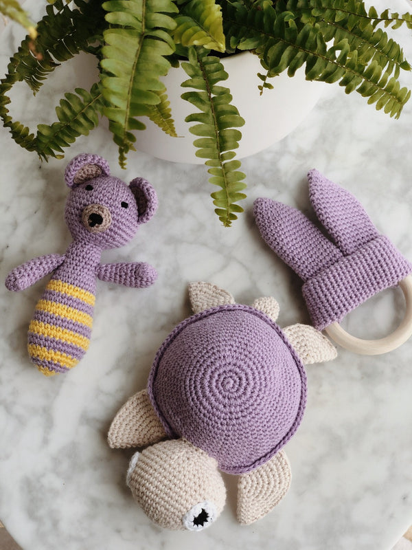 Handmade Crochet Baby Toys - Purple Pack, baby toys, The Clean Market, - The Clean Market