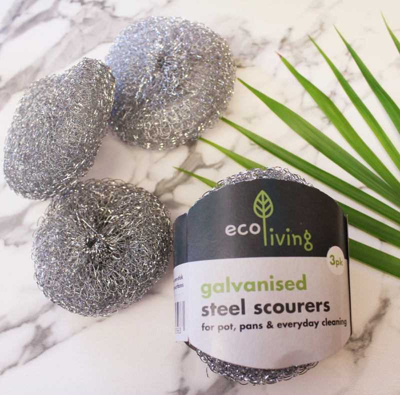 Galvanised Steel Scourers - Pack of 3, Ecoliving, The Clean Market