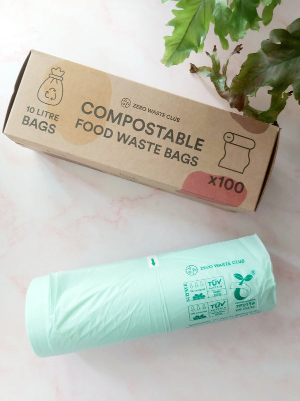 Compostable Food Waste Bags - Pack of 100, Zero Waste Club, The Clean Market