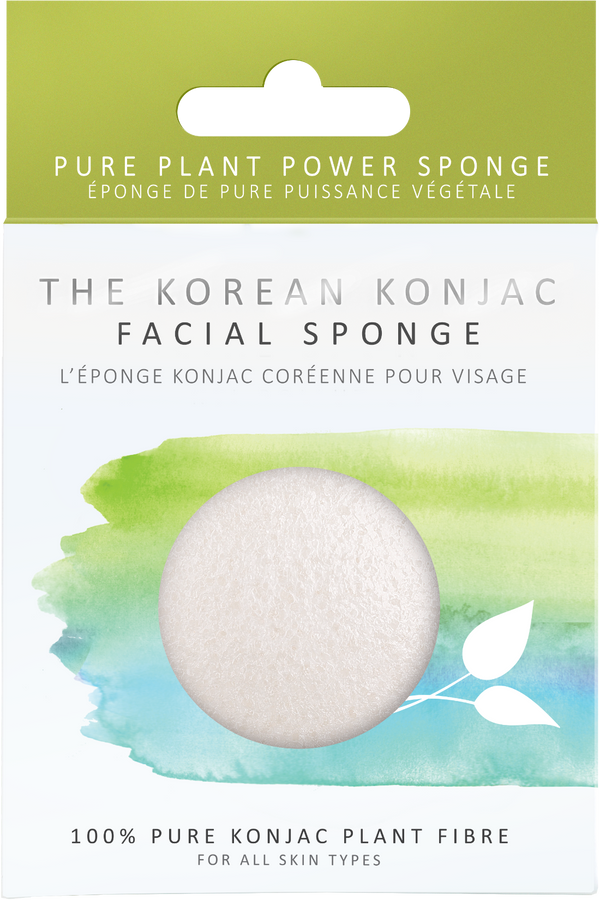 Biodegradable, natural, vegan, premium 100% pure konjac facial sponge in its plastic free packaging