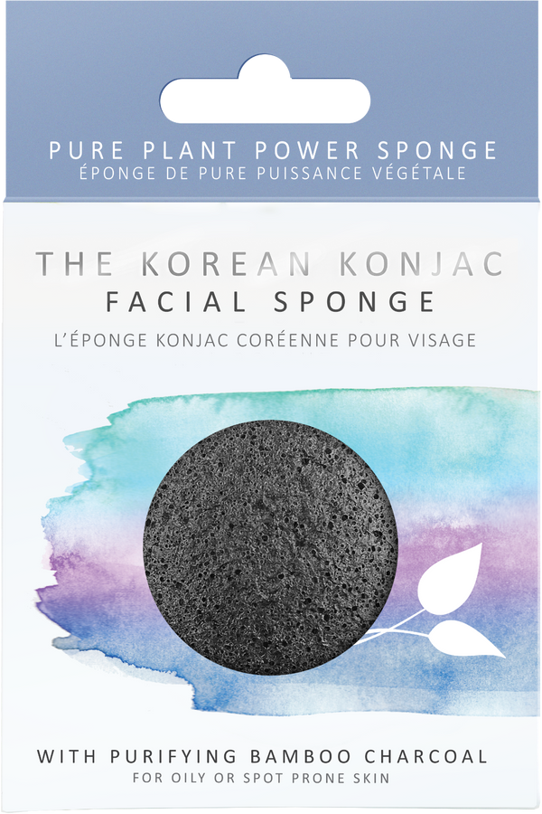 Biodegradable natural and vegan konjac facial sponge with activated bamboo charcoal in its plastic free packaging