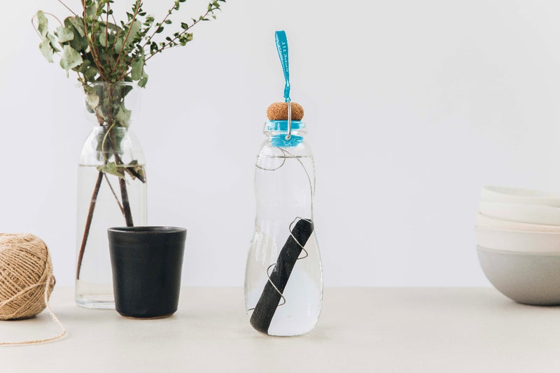 Eau Good Glass - Blue Water Bottle, Black+Blum, The Clean Market