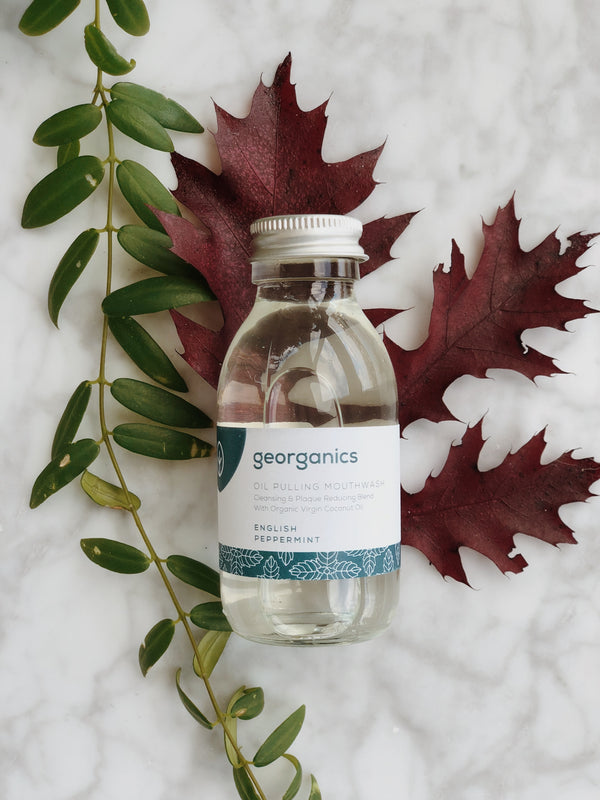 natural and organic mouthwash with english peppermint by georganics