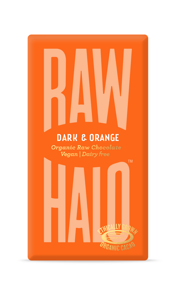 Organic Raw Chocolate - Dark & Orange, Chocolate Bar, Raw Halo, - The Clean Market