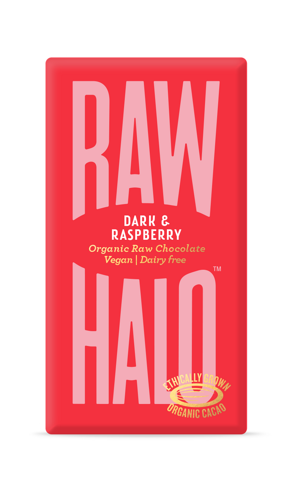 Organic Raw Chocolate - Dark & Raspberry, Chocolate Bar, Raw Halo, - The Clean Market