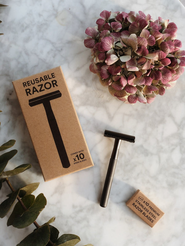 Stainless Steel Reusable Razor - Metal Grey, Zero Waste Club, The Clean Market