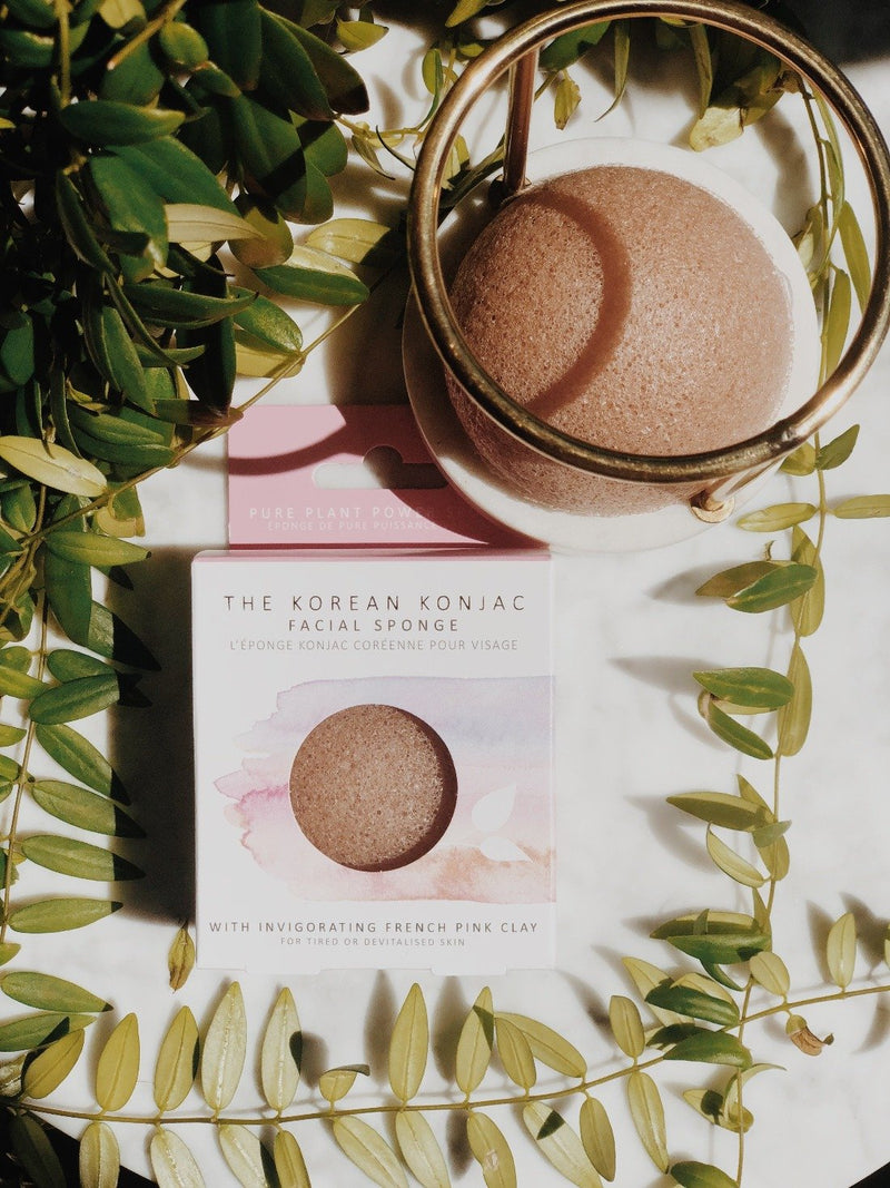 Konjac Facial Sponge - Pink French Clay, The Konjac Sponge Co, The Clean Market