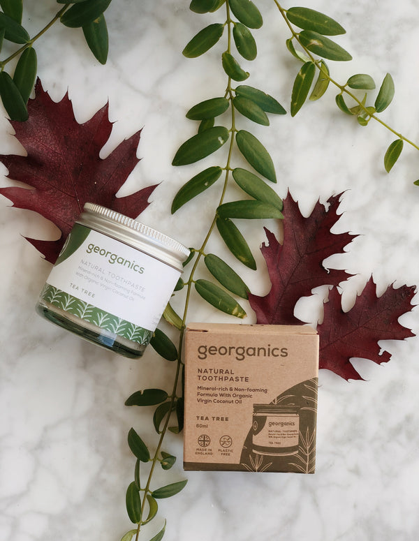 natural and organic toothpaste with tea tree flavour by georganics with its zero waste packaging