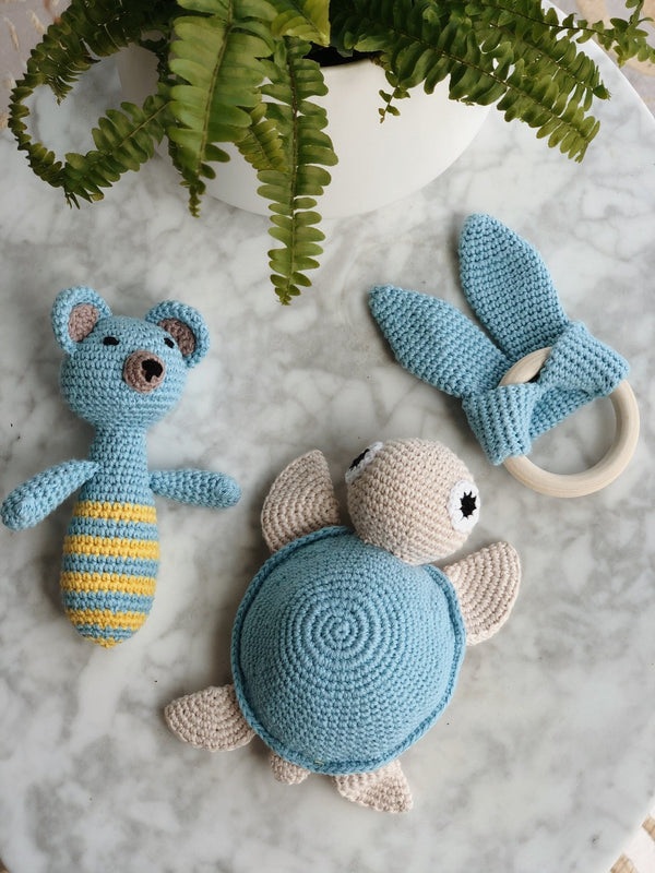 Handmade Crochet Baby Toys - Blue Pack, baby toys, The Clean Market, - The Clean Market