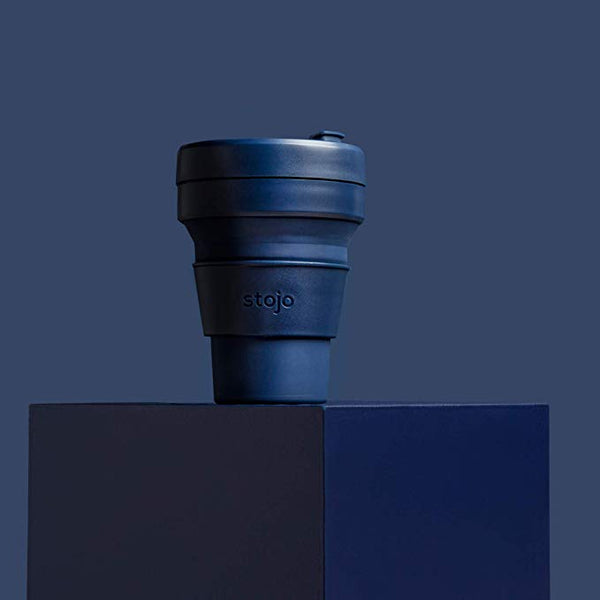reusable and collapsible coffee cup by stojo in denim colour