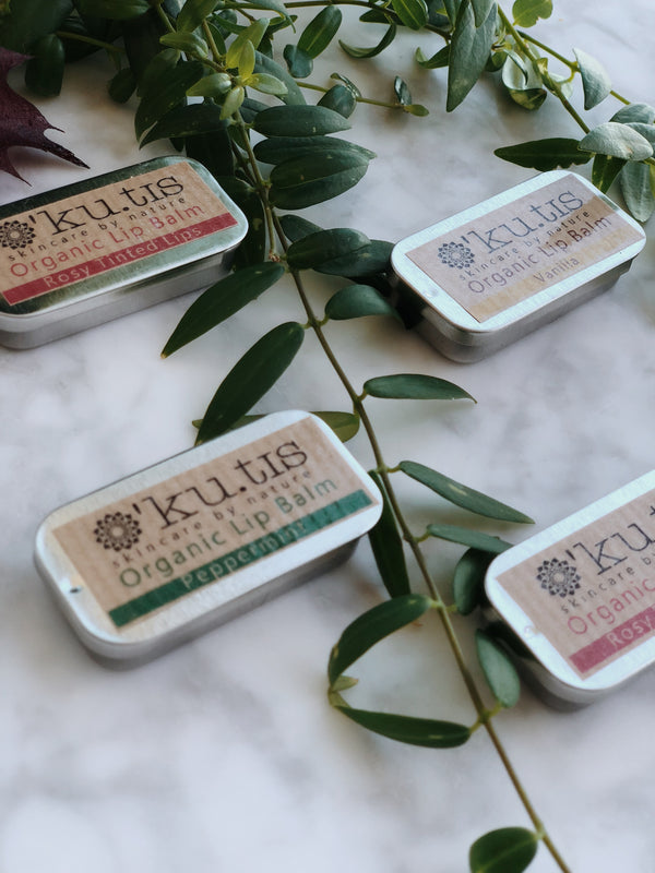 Natural and organic rose lip balm by kutis in its plastic free and zero waste packaging