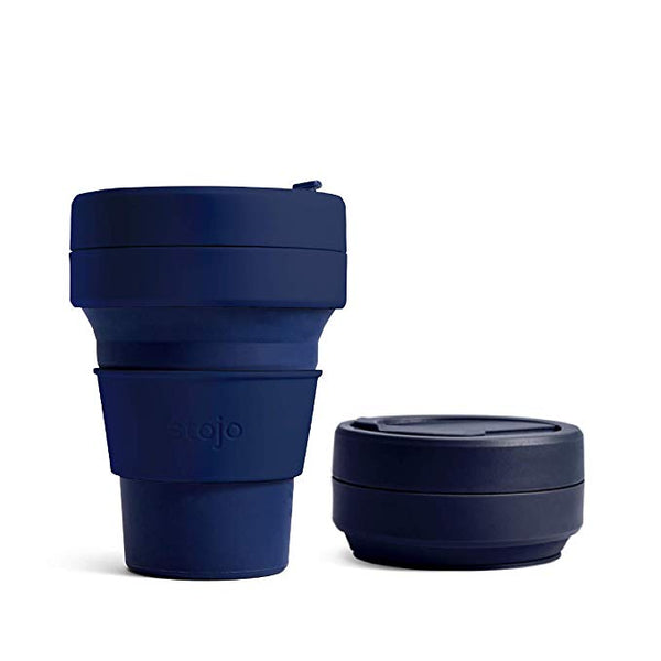 reusable and collapsible coffee cup by stojo in denim colour and its collapsed version