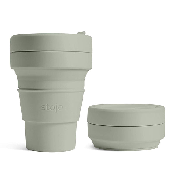 reusable and collapsible coffee cup by stojo in sage colour and its collapsed version