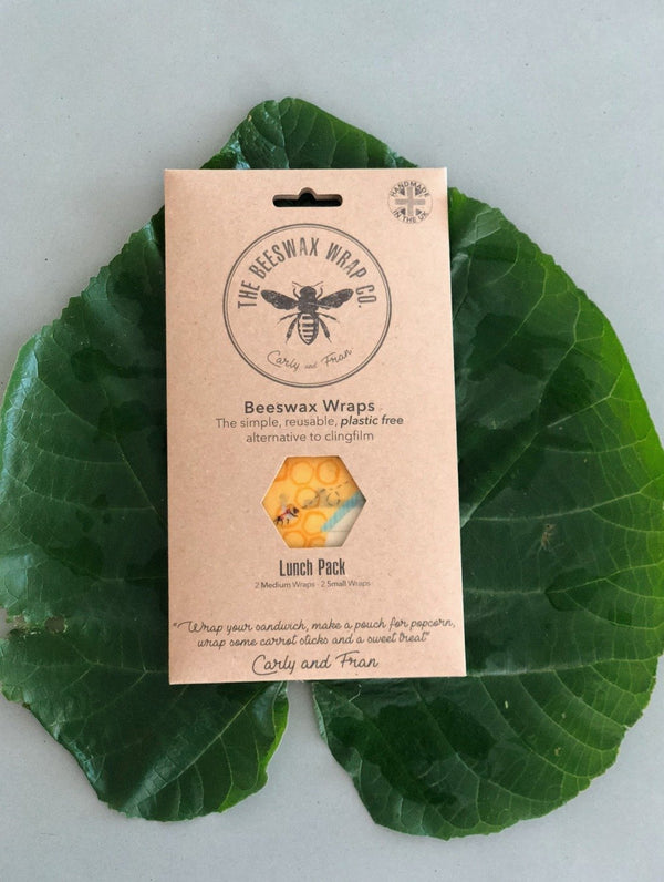 Sustainable, reusable and zero waste beeswax food wrap in plastic free packaging