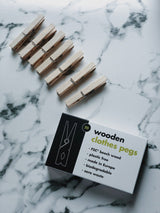 Wooden Clothes Pegs (Pack of 20), Ecoliving, The Clean Market