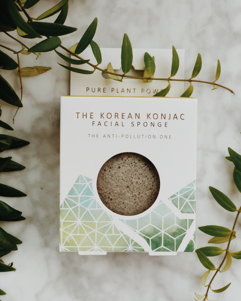 Biodegradable, natural and vegan konjac facial sponge with tourmaline in its plastic free packaging