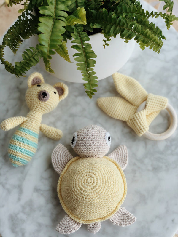 Handmade Crochet Baby Toys - Yellow Pack, baby toys, The Clean Market, - The Clean Market