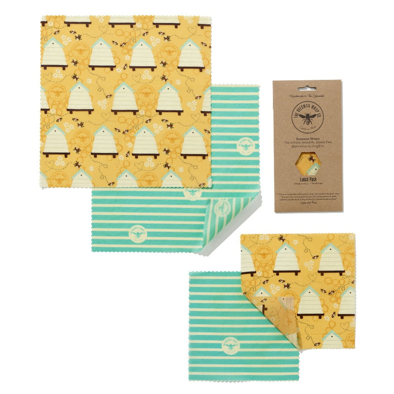 Beeswax Wrap Lunch Pack (2 Small & 2 Medium), Food Wrap, The Beeswax Wrap Company, - The Clean Market