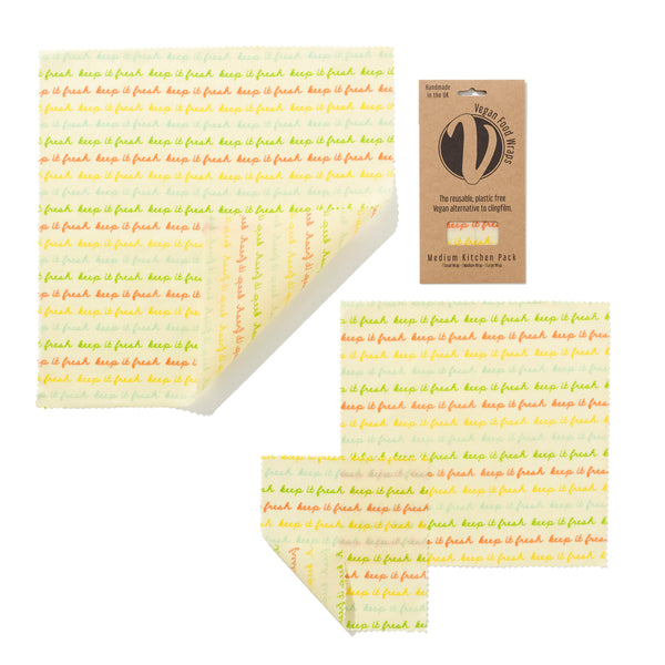 Vegan Wax Wrap - Medium Kitchen Pack (1 Small, 1 Medium & 1 Large) - The Clean Market