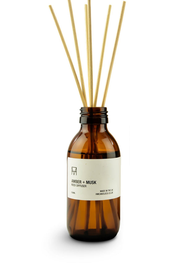 Reed Diffuser - Amber + Musk, Handmade Candle Co., The Clean Market