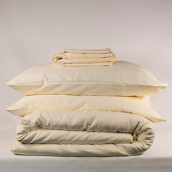 sustainable and luxurious linen bedding set in oyster white by The Flax Sack
