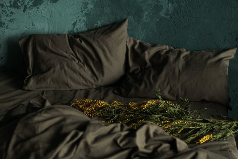 Linen Flat Sheet - Olive Grey, Bedding Set, The Flax Sack, - The Clean Market
