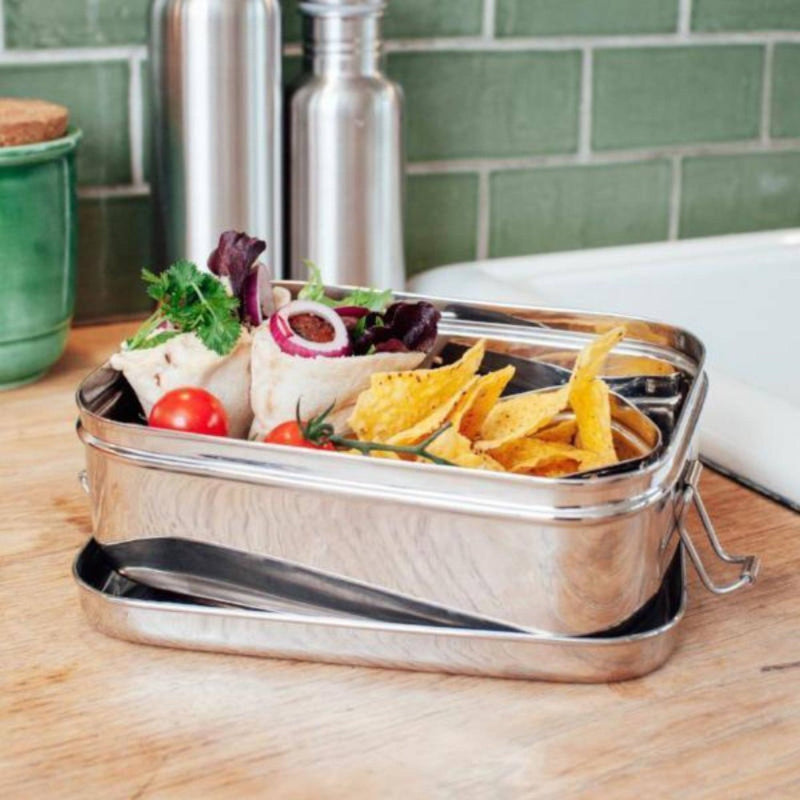 Sustainable stainless steel lunchbox by The Elephant Box filled with snacks