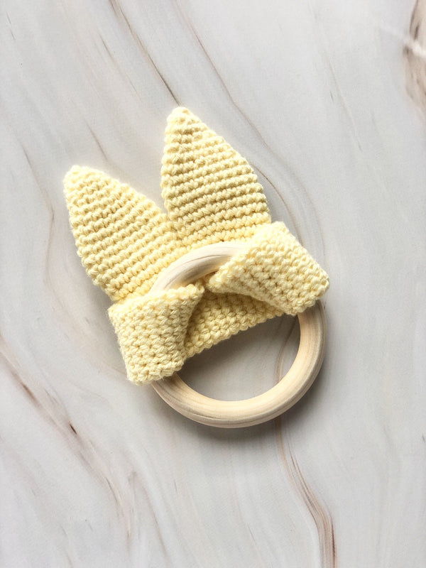 Handmade Crochet Teether - Yellow, The Clean Market, The Clean Market
